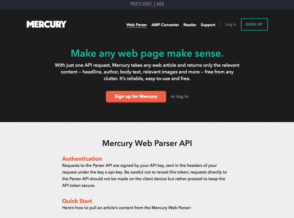 A screenshot of Mercury Web Parser API.