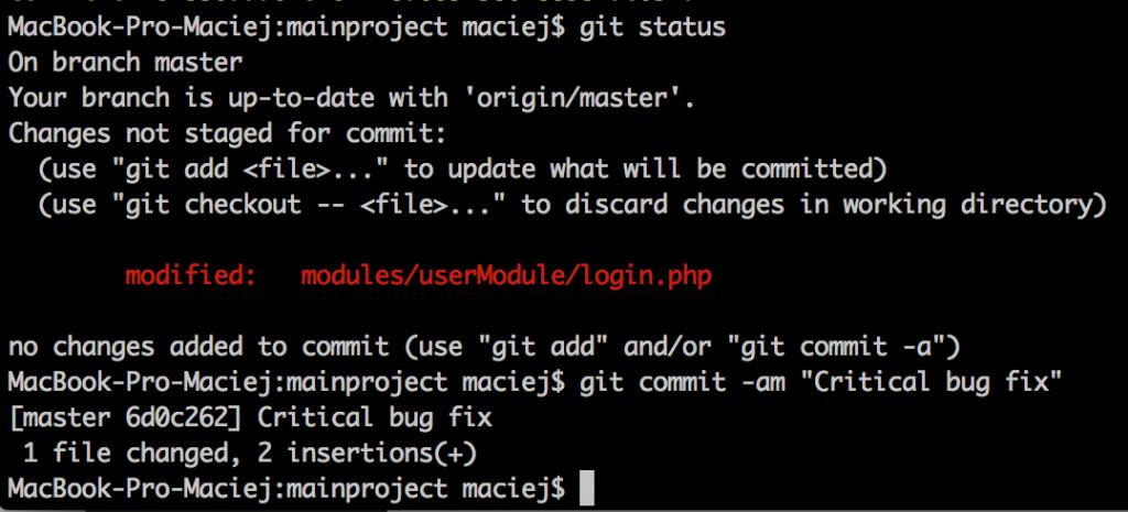 A screenshot of a git status.