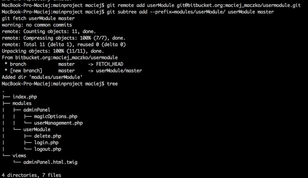 A screenshot with a fragment of a code in userModule.