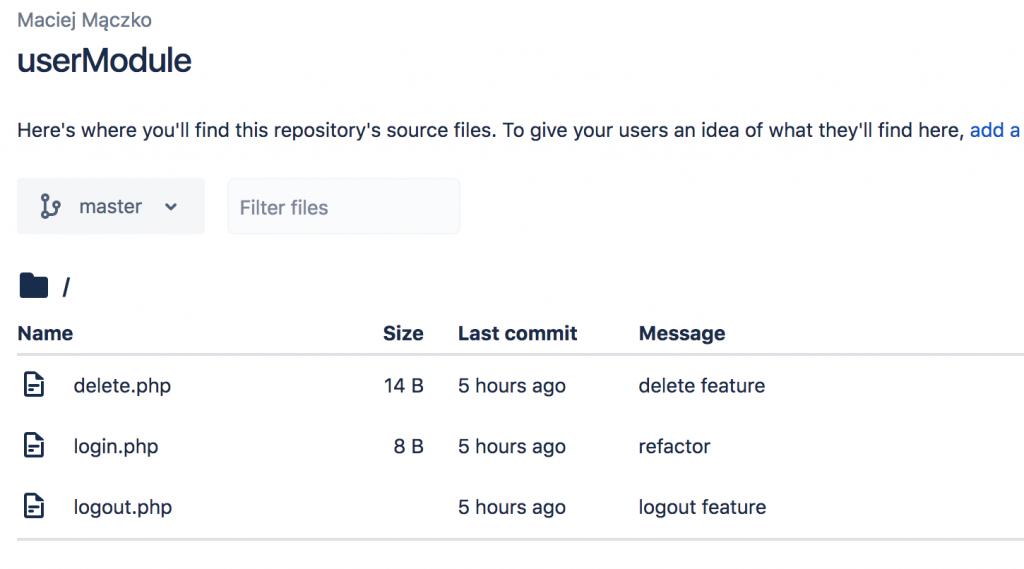 A screenshot of a userModule source files repository.