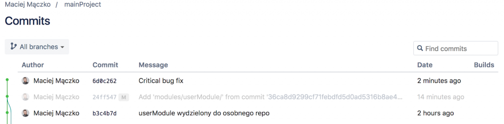 A screenshot with commits.