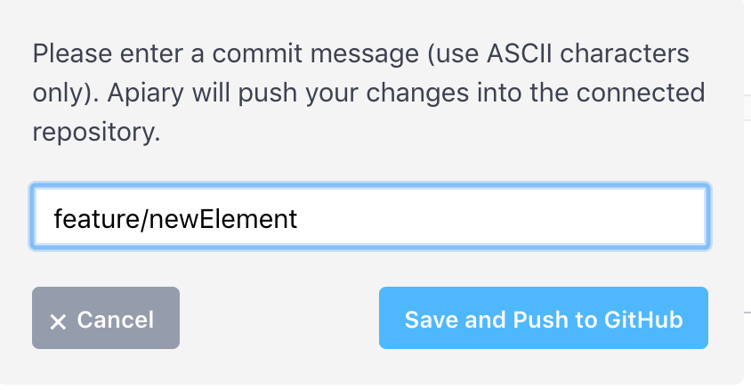A screenshot of commit message from Apiary.