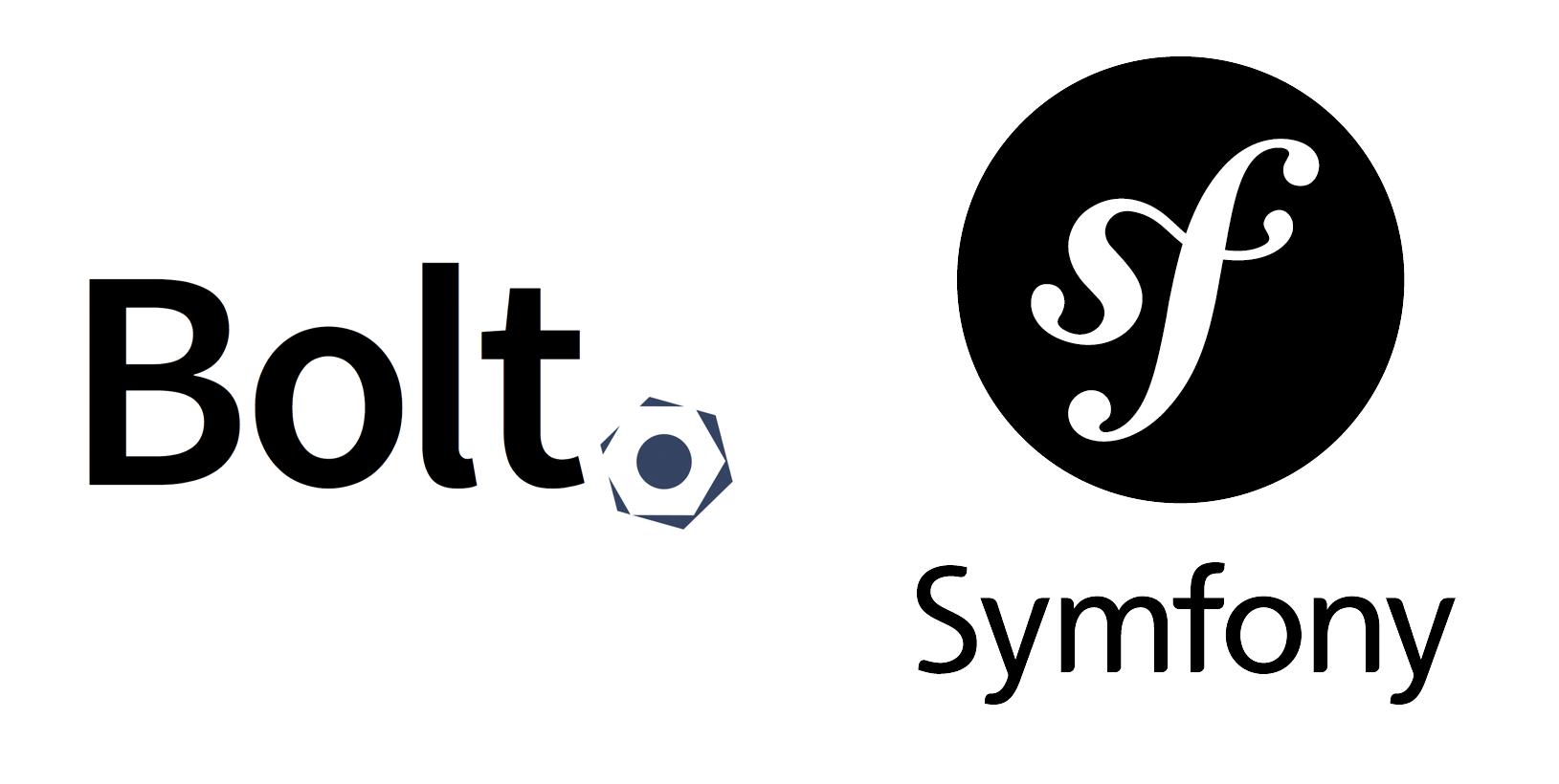 Bolt and Symfony logos