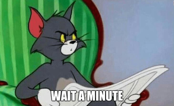 A meme shows a surprised cartoon cat