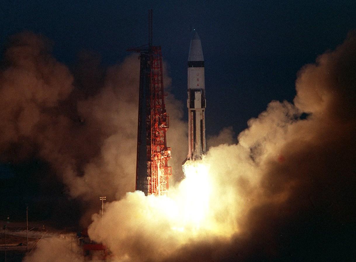Saturn IB rocket during Apollo 5 mission