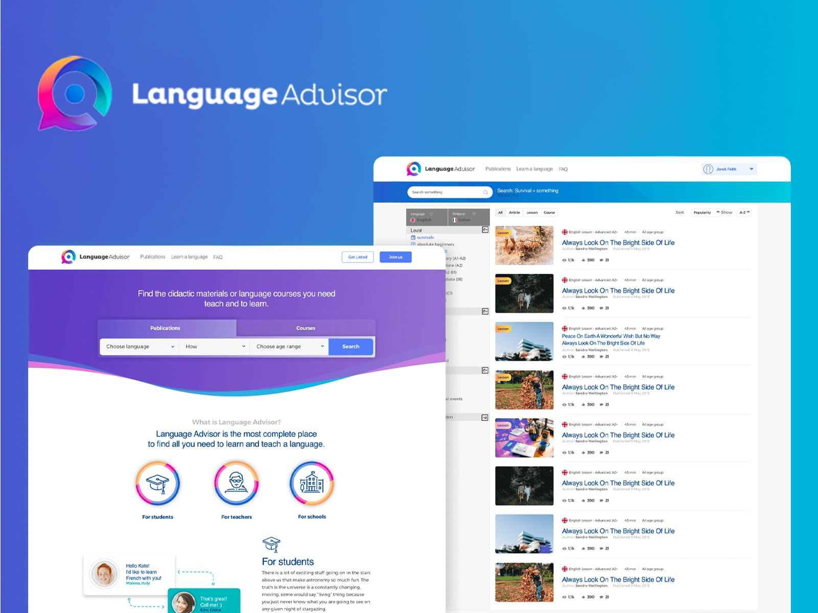 Complete design of a language learning application