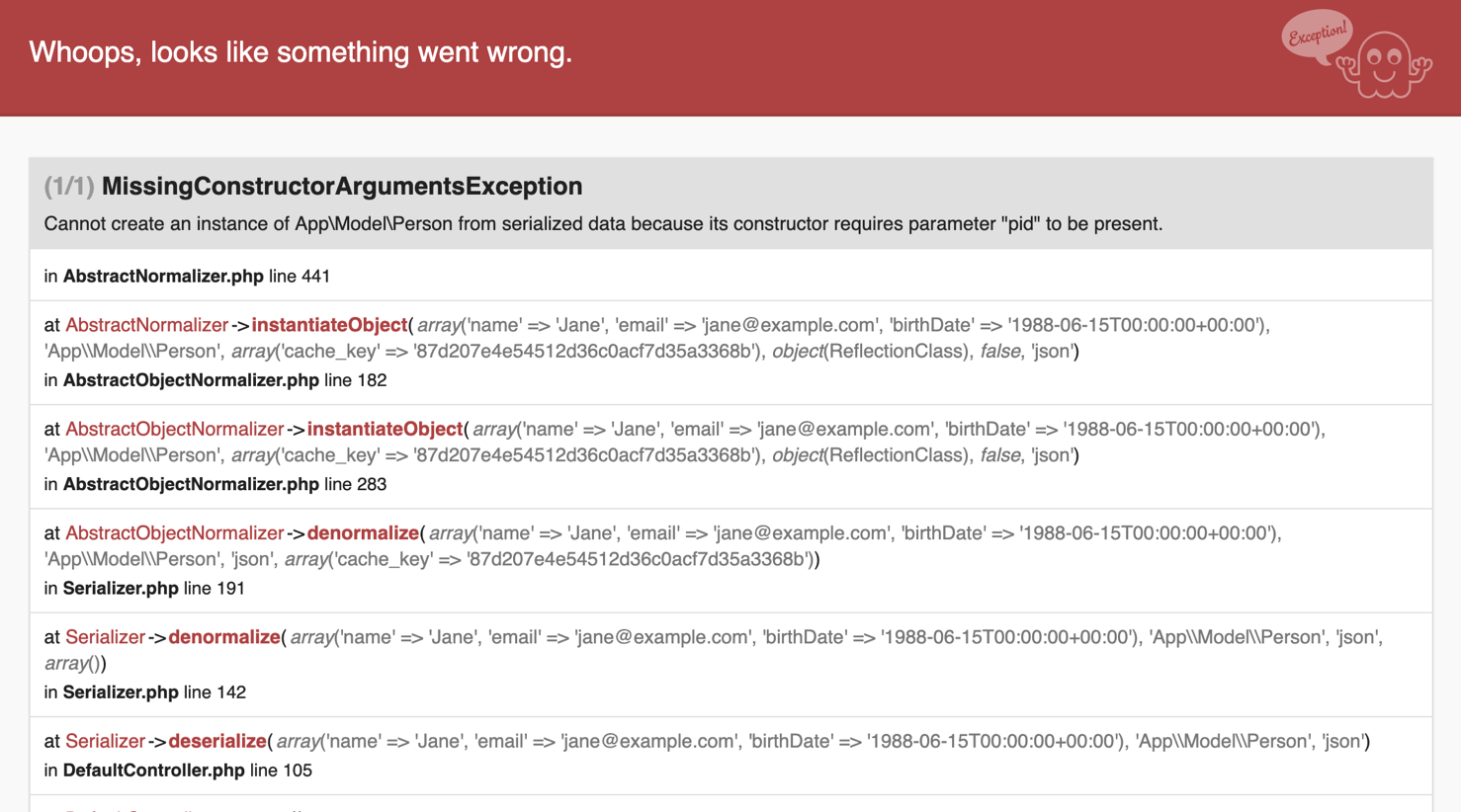 A screenshot of Missing Constructor Arguments Exception.