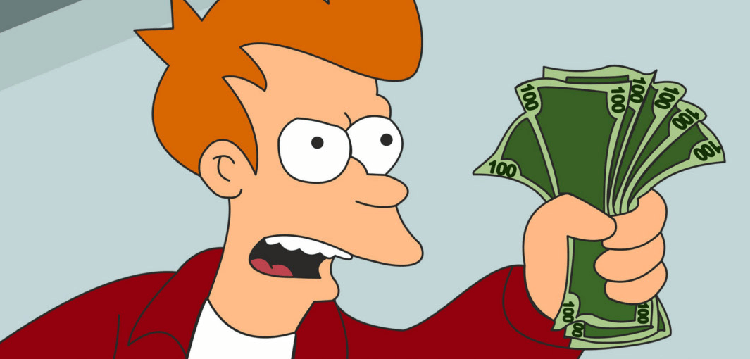 """Shut up and take all my money"" Futurama meme related to fintech investors in Europe"