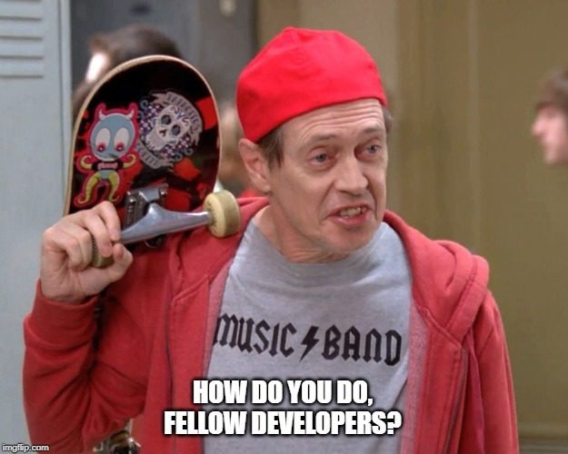 Steve Buscemi dressed like a teenager with caption: how do you do, fellow developers