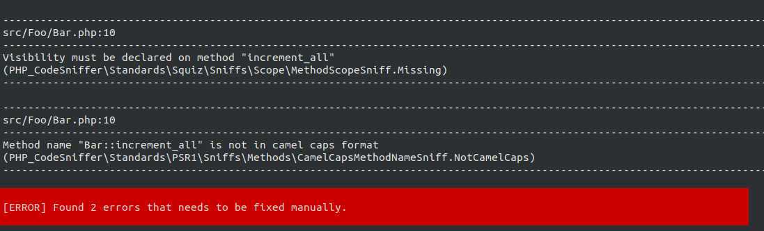 PHP code output