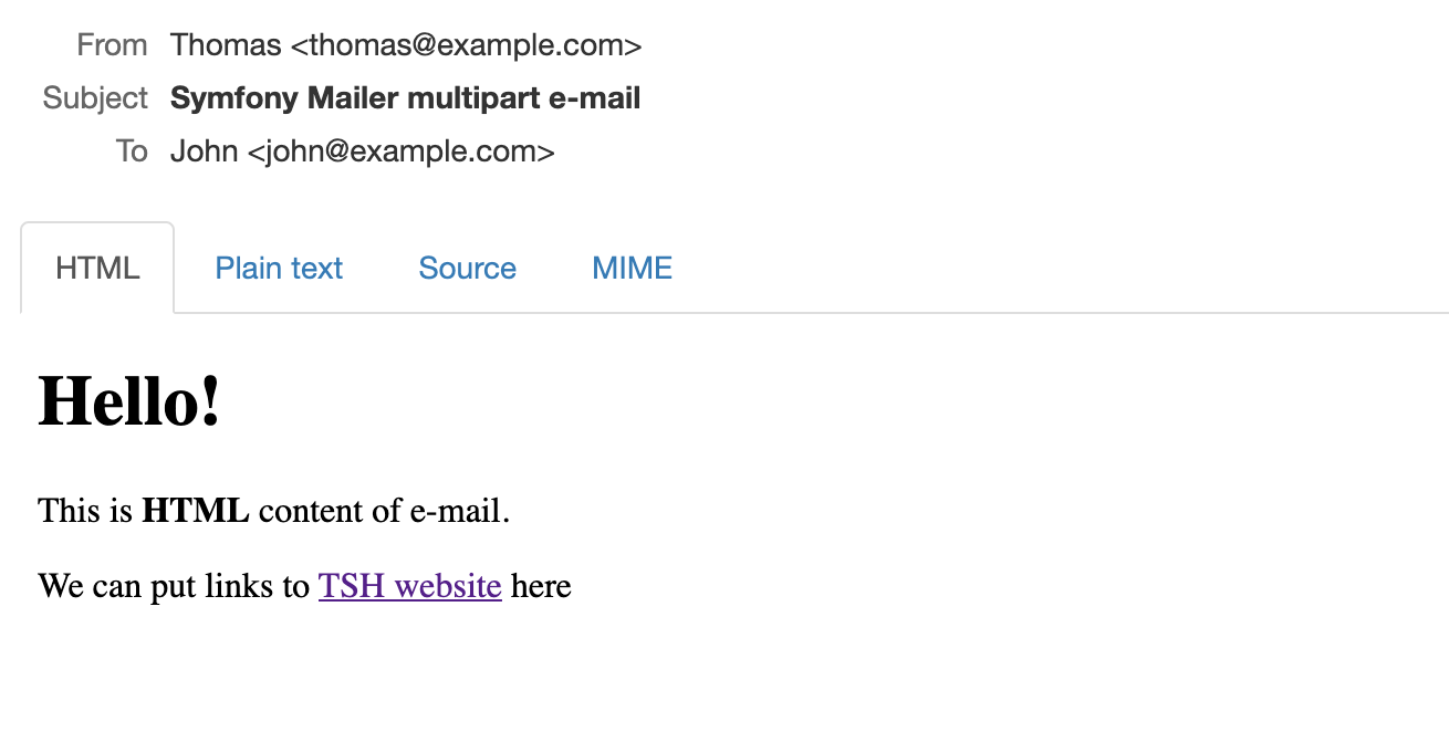 An example of a multipart email in Symfony.
