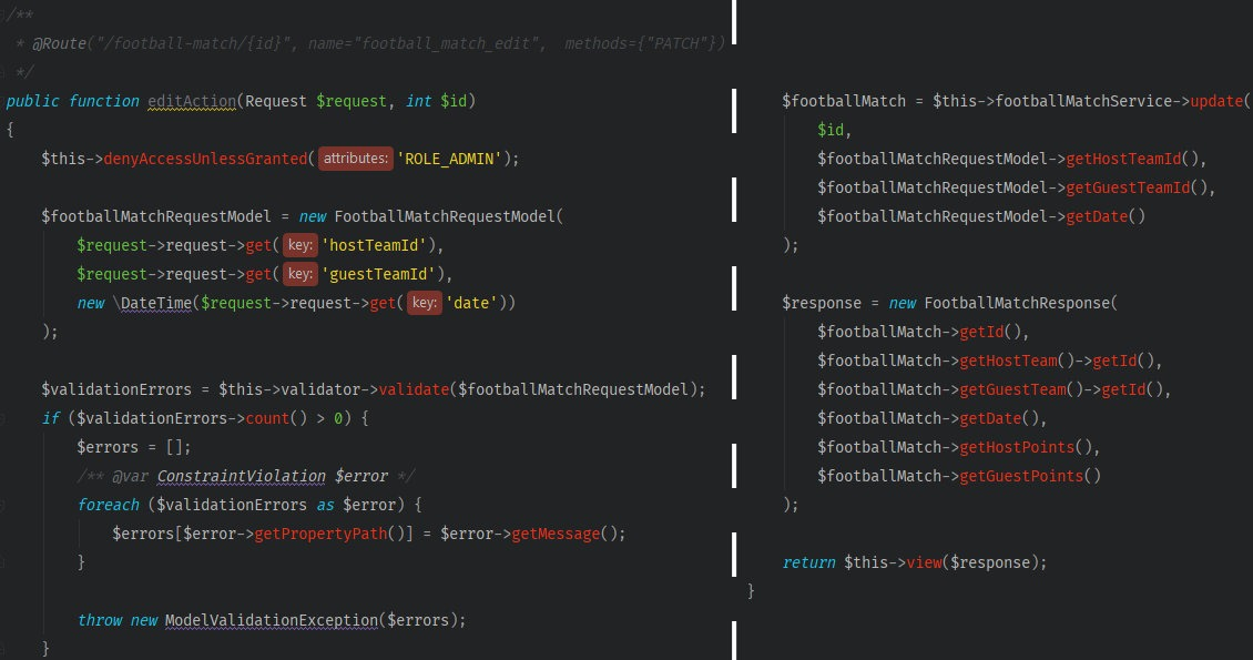 A screenshot showing the code's shape before refactoring