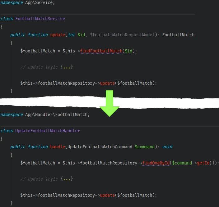 A screenshot showing service handler conversion