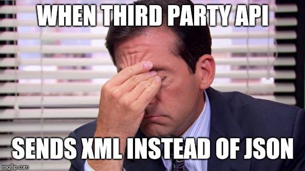 when third party API sends xmlinstead of json meme guy with a facepalm