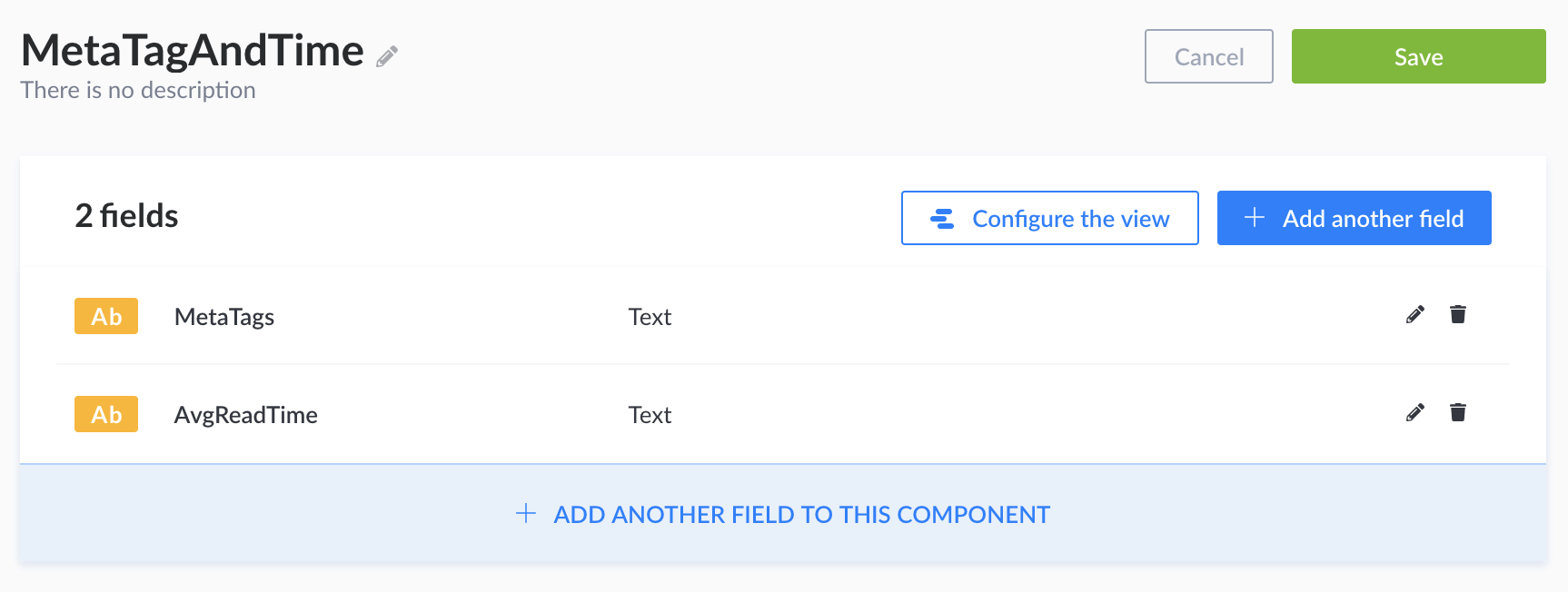 A screenshot of meta tag fields