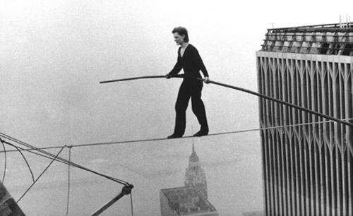 Philippe Petit tightrope walking