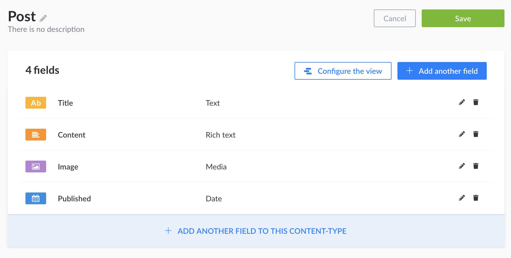 Screenshot of a final post configuration in Node.js headless CMS – Strapi