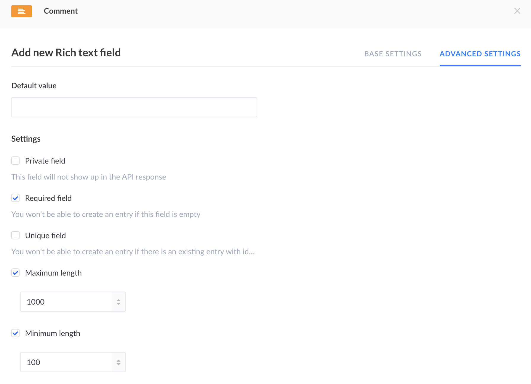Screenshot of rich field advanced settings
