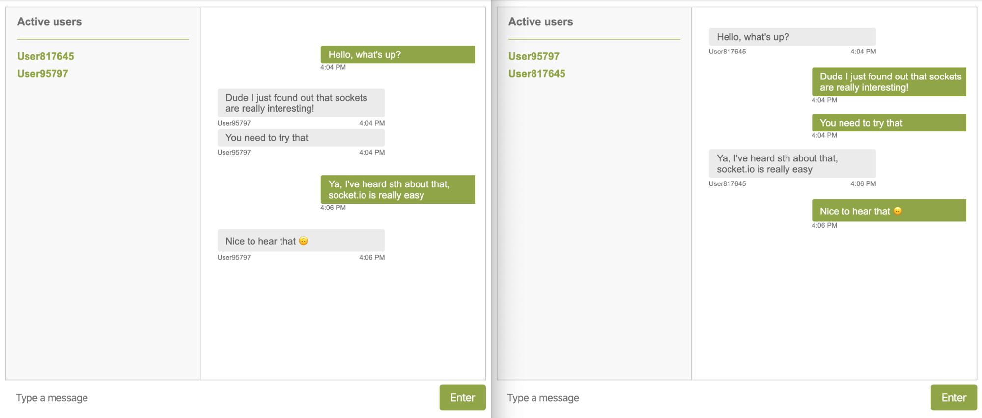 Socket.io tutorial screenshot showing an example of a simple chat app
