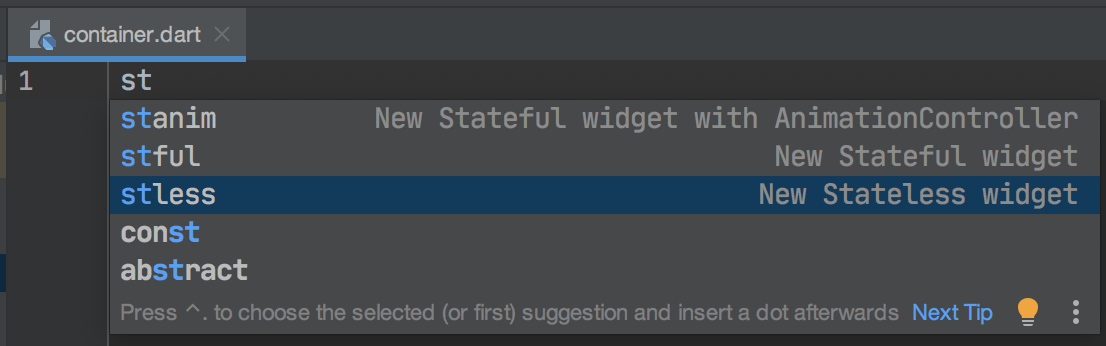 A screenshot of typing a new stateless widget in Flutter tutorial