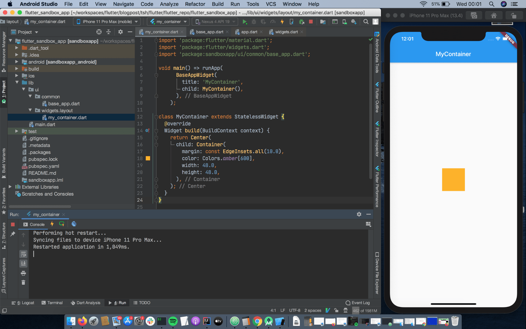 Another screenshot of iOS simulator displaying an app in Flutter tutorial