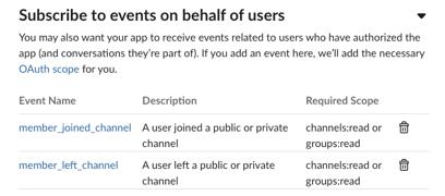 A screenshot of event subscription