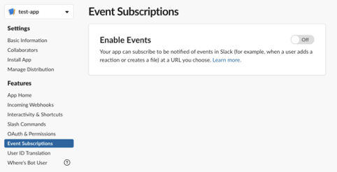 apps slack - a screenshot showing event subscription