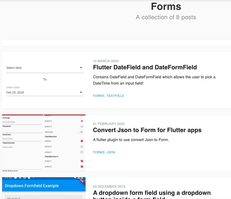 Flutter Awesome forms resources