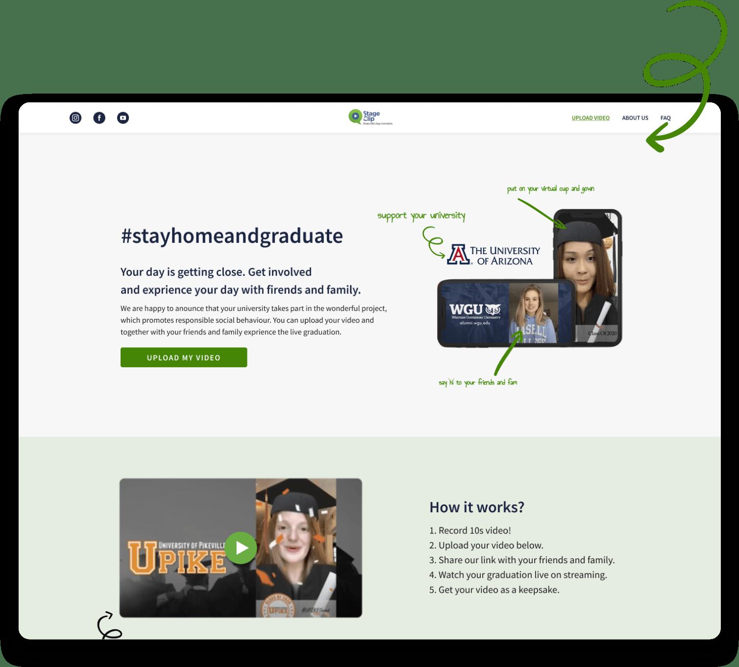 StageClip virtual graduation ceremonies web app case study