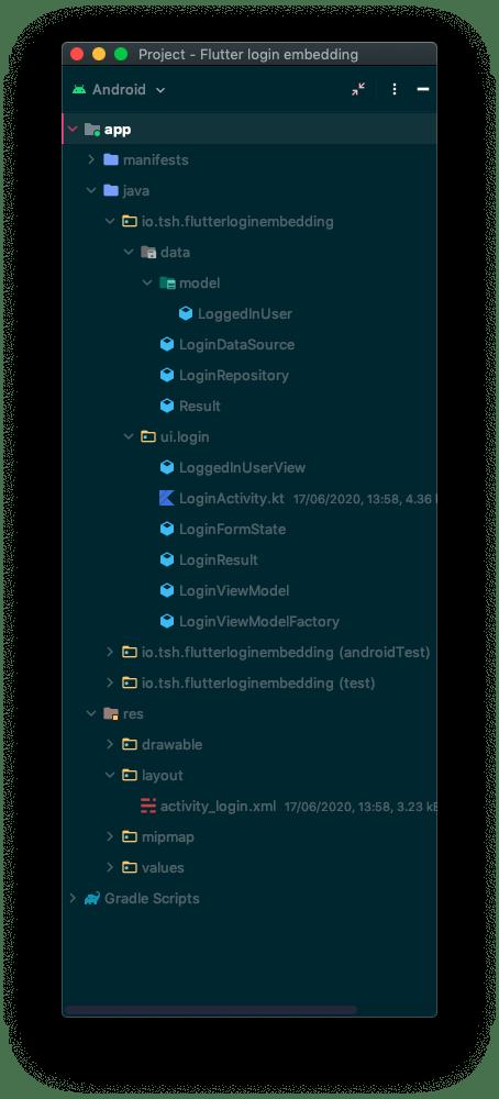 Screenshot with a Flutter app embedding