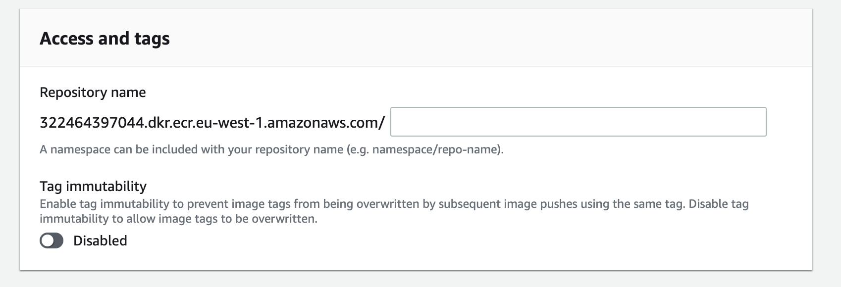 Screenshot showing ECR repository creation