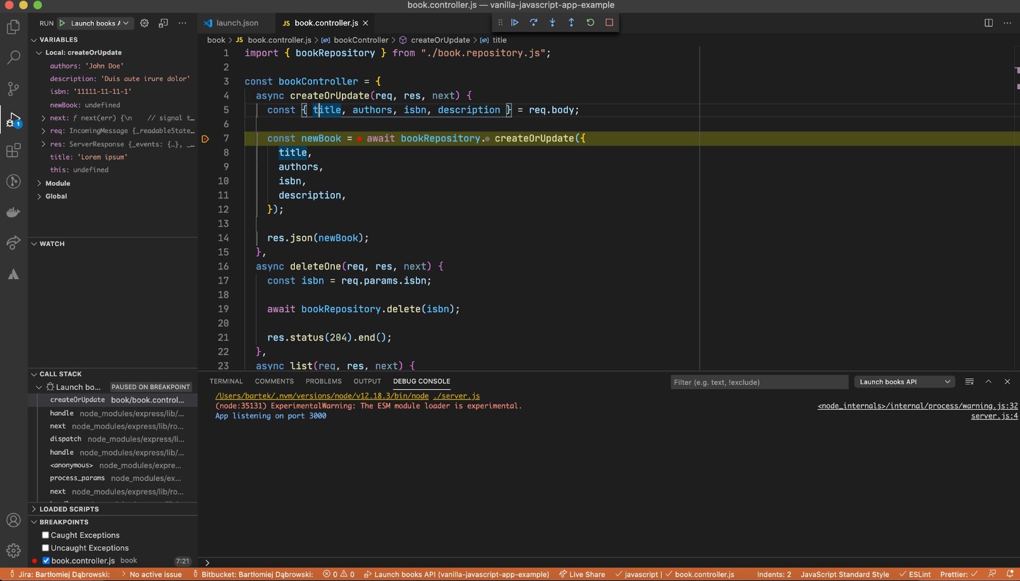 node js node debug session configuration in debugger