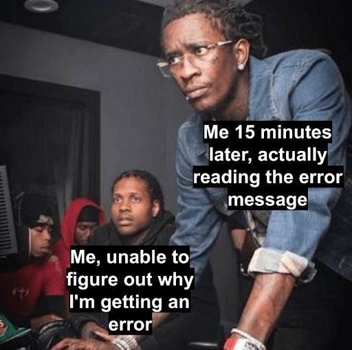 typescript example errors front end meme
