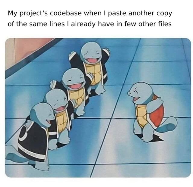 bad programming practices meme squirtle